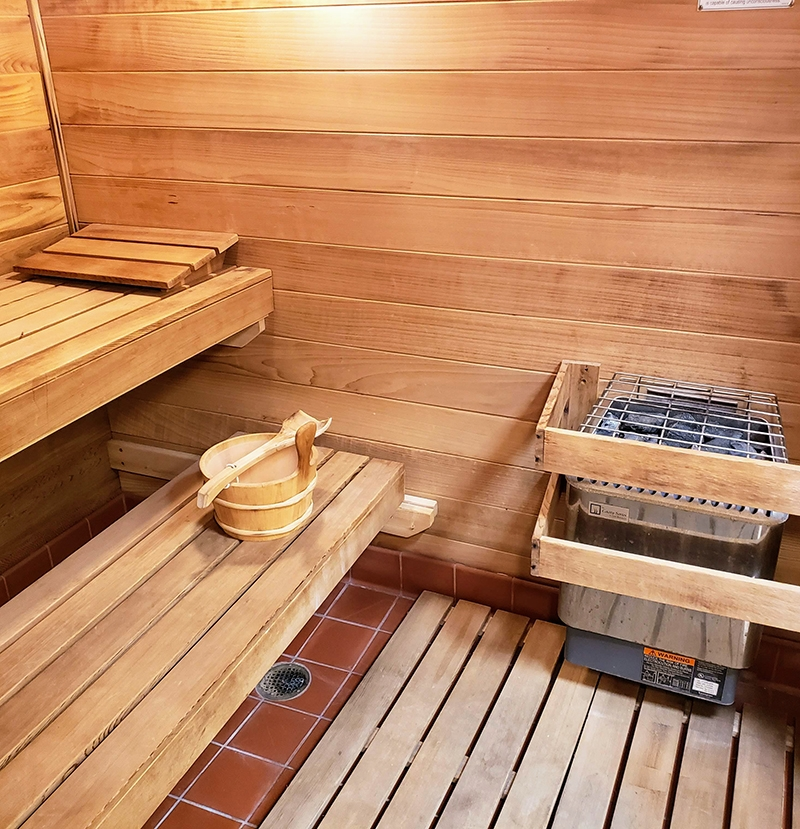 the sauna at Mill Pond Acres