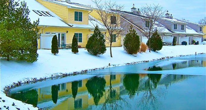 row of houses by the pond in winter